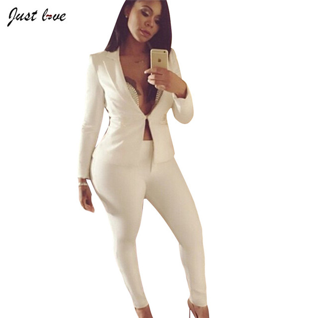 ed5d3b5ac Primavera Otoño 2 Unidades Set chaqueta + pantalones Pantalones De Las  Mujeres Blancas Mujeres Traje Traje