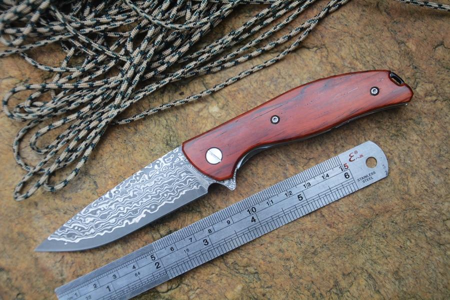 YSTART folding knife damascus blade pocket knives ball bearing washer wood handle hunt outdoor knife EDC tools free shipping sanrenmu 6027 luc ll pocket frame lock folding knife