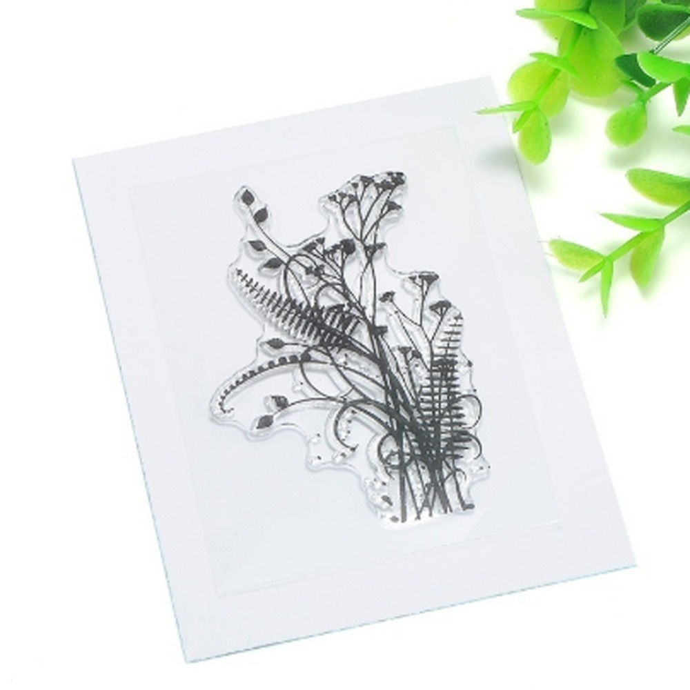 1 sheet DIY mixed grass leaves design Scrapbooking Decoration Transparent Clear Rubber Stamp Seal for Paper Craft 6*9cm 1 sheet diy label symbol candle transparent clear rubber stamp seal paper craft scrapbooking decoration