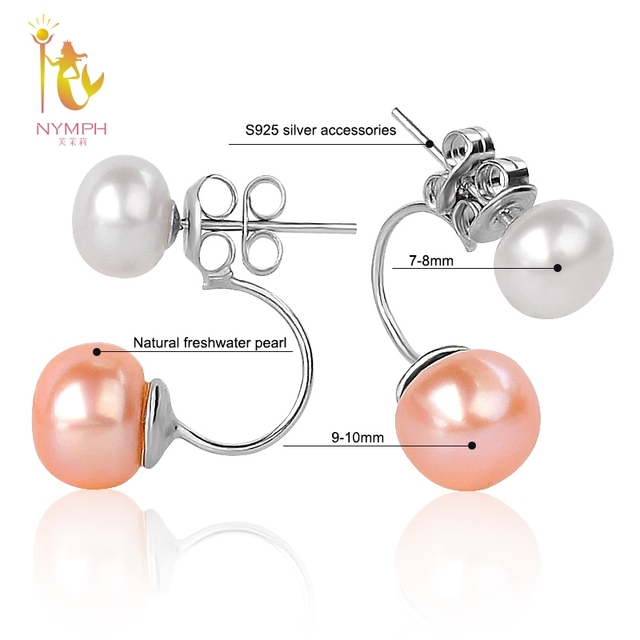 [NYMPH] Double Pearl Earrings For Women Pearl Jewelry Natural Freshwater Pearl Stud Earrings 925 Silver Fine Jewelry E205F