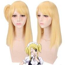 Hohe Qualität Fairy Tail Lucy Heartfilia 50cm Lange Gerade Kostüm Cosplay Perücke Für Frauen Anime Perücke Synthetische Haar Perücke