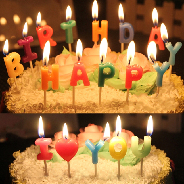Diy Letter Candles Happy Birthday I Love You Kids Birthday Candle Cake Topper Decor For Wedding Party Birthday Party Free Ship In Candles From Home