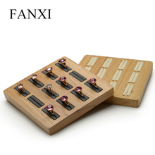 Jewelry Accessories - Jewelry Packaging  - FANXI Solid Wood Cream-white&Dark Gray 12 Seats Ring Display Stand With Microfiber Internal For Exhibition Jewellry Rings Holder