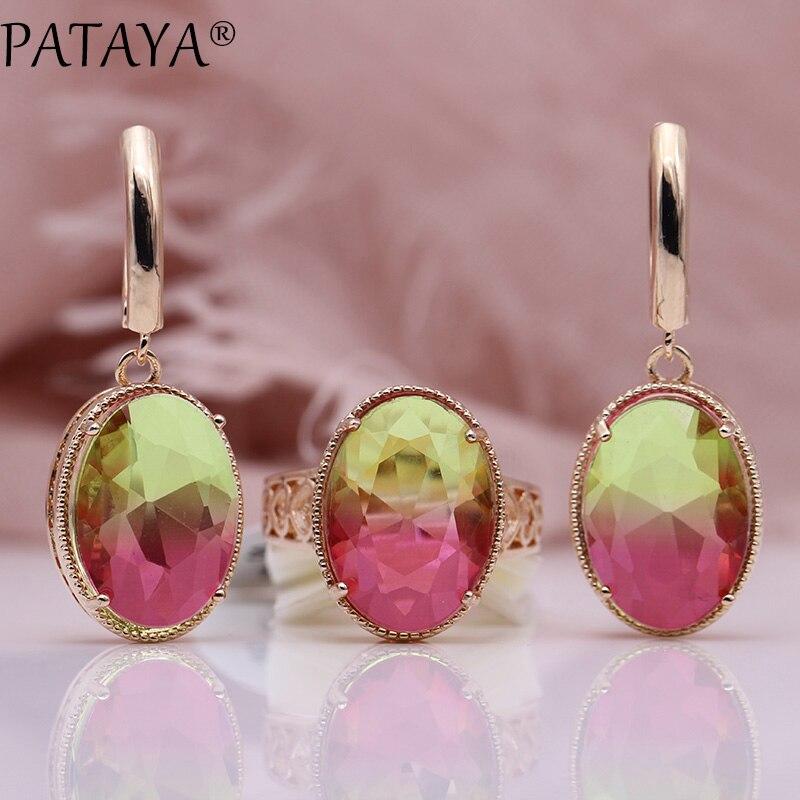 PATAYA Neue Oval Lange Ohrringe Ring Sets 585 Rose Gold Frauen Mode Hochzeit Party Edlen Mehrfarbige Natürliche Zirkon Schmuck Sets