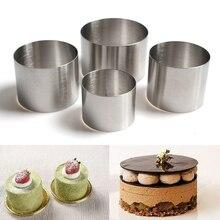 Molde para tarta de Mousse en forma redonda de acero inoxidable, 50mm, 60mm, 63mm, 76mm de diámetro, molde para tarta de Mousse, herramientas de decoración de pasteles horneados