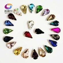 Clothing-Accessories Rhinestones Glass Crystal Teardrop-Shape Golden-Bottom High-Quality