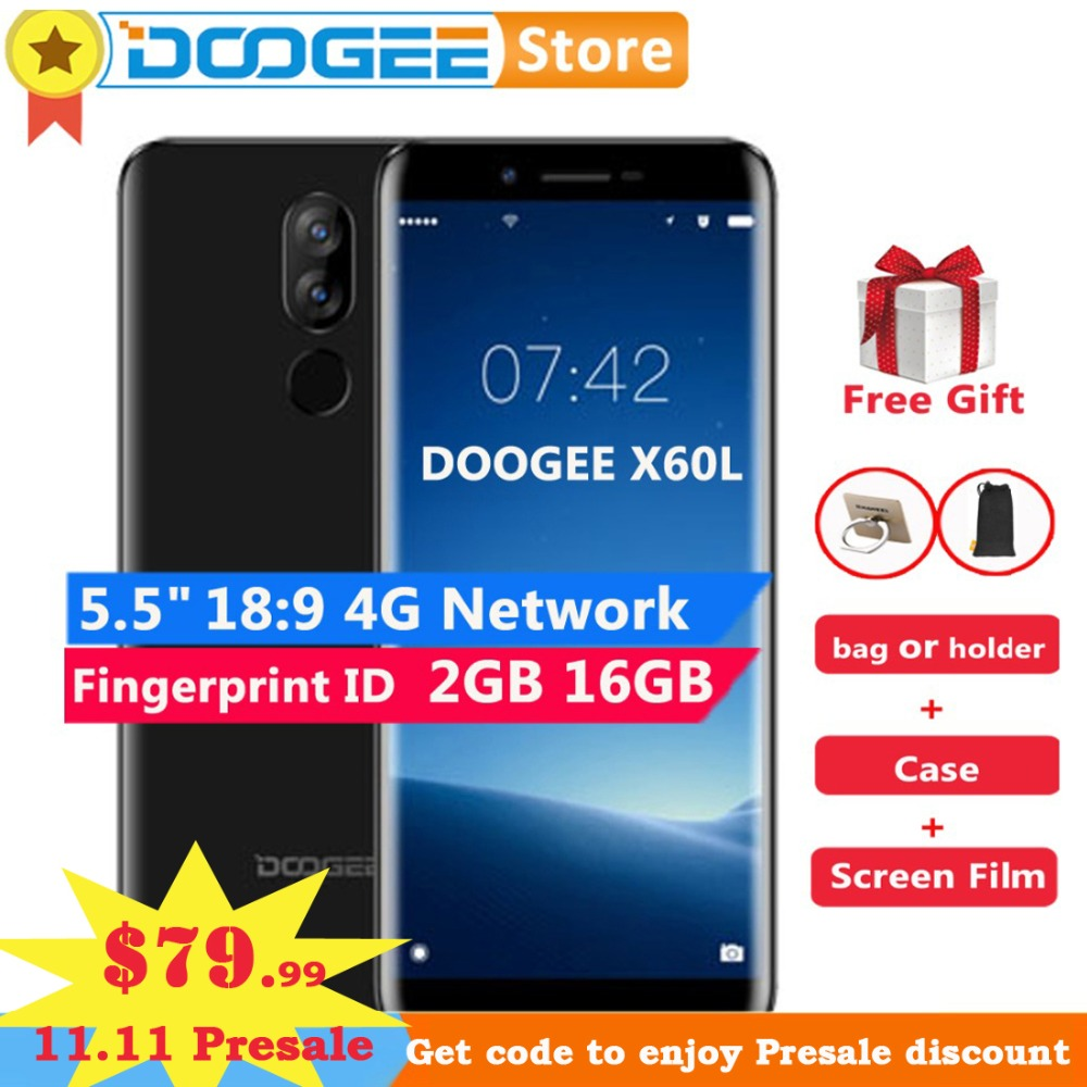 "DOOGEE X60L 2 ГБ 16 ГБ 5,5 ""HD 18:9 сотовый телефон Android 7,0 mtk6737 четыре ядра 13MP двойной камеры заднего 3300 мАч 4G LTE смартфон"