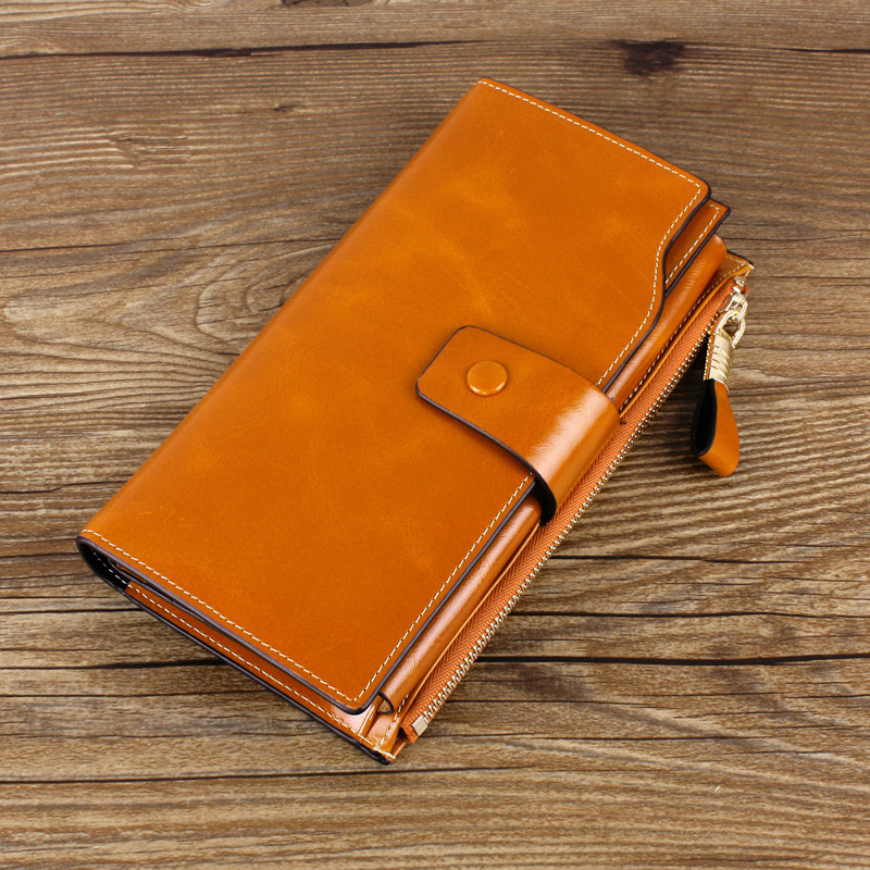 2017 New Women Wallets Genuine Leather High Quality Long Design Clutch Cowhide Wallet High Quality Fashion Female Purse 2018 new women wallets oil wax genuine leather high quality long design day clutch cowhide wallet fashion female card coin purse