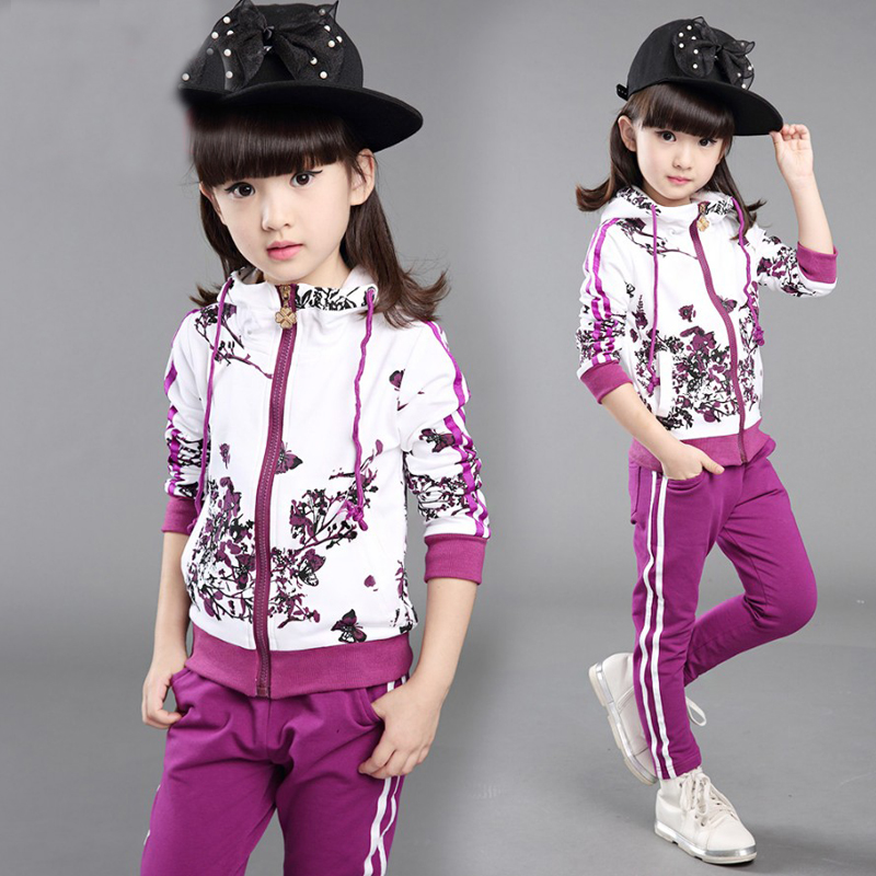 Free Shipping New Spring&Autumn Baby Girls Clothes Jacket Floral Kids Hoodies+Pants Kids Tracksuit Child Clothing Sets Sport clothing set 2019 spring girls clothes jacket floral zipper kids hoodies pants kids tracksuit for girls clothing sets sport suit
