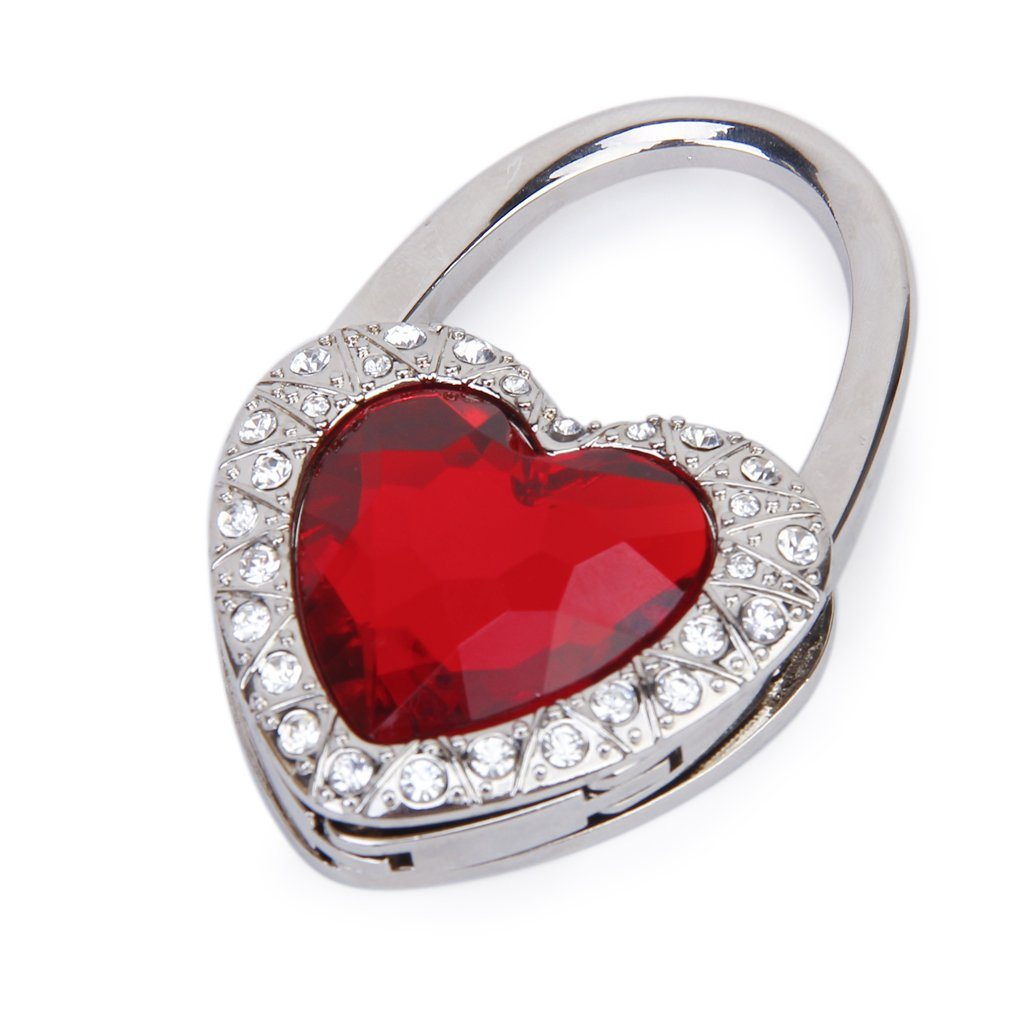 Support Hook Of Handbag Folding In Red Heart Shape With Rhinestone Decoration