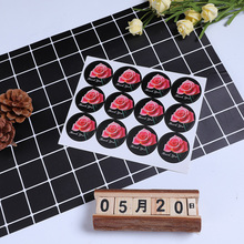 120Pcs/pack DIY Hot Sale Black Rose Handmade Cake Packaging Sealing Label Stickers