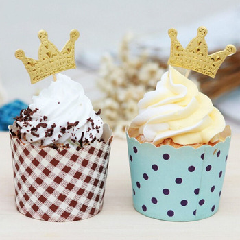 Party Cake Cupcake Picks 50pcs Cake Tooper Paper Gold Princess Crown Topper Favors Baby Shower Wedding Birthday Decorations image