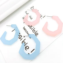 Trendy New Design Korean Solid Color Irregular Geometric Hoop Earrings For Women Girl Cute Acrylic Earrings 2019 Jewelry E19108(China)