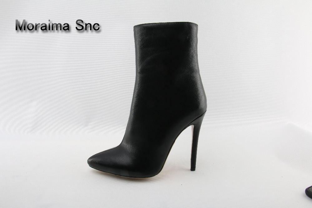 Moraima Snc women shoes sexy high heels boots for women pu leather zipper ladies ankle boots black sapatos mulher pointed toe moraima snc red boots transparent high heels boots women square toe mid calf rainboots sexy ankle boots for women bottine femme