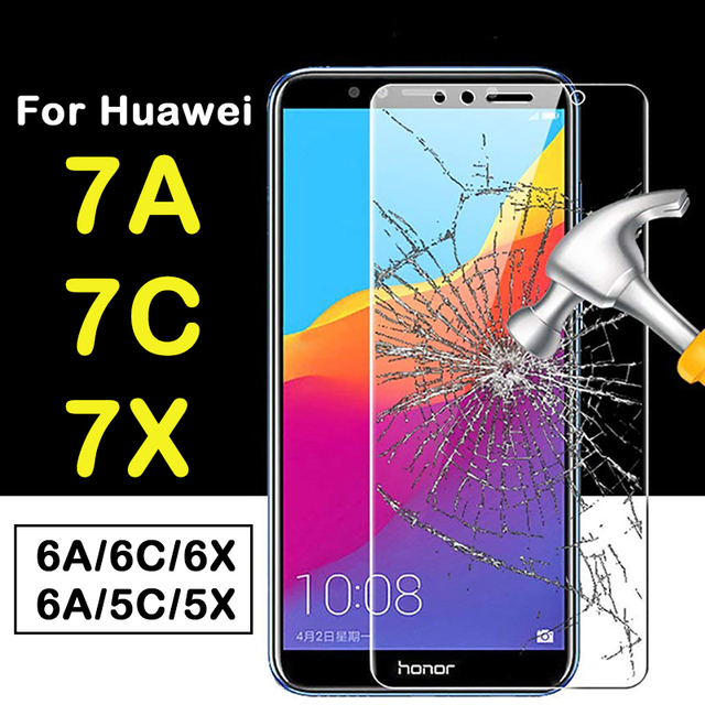 protective glass on for huawei honor a7 c7 x7pro 7a 7c 7x  6a 6c 6x 5a 5c 5x glas 7 6 5 a c x a6 c6 x6 cristal tempered film 9h