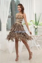 free shipping 2014 new design hot sller brides maid cheap sexy club dresses one shoulder white leopard print short prom