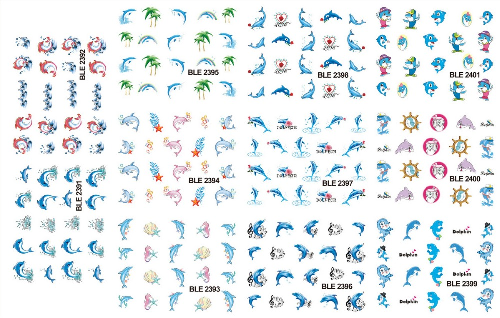 11 PACK/ LOT  WATER DECAL NAIL ART NAIL STICKER DOLPHIN PALM TREE MELODY BLE2391-2401 4 packs lot full cover white french smile lace tattoos sticker water decal nail art d363 366w