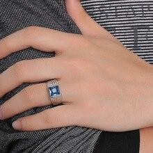 Модные мужские кольца из нержавеющей стали массивные кольца с прямоугольным синим камнем обручальное кольцо Модные ювелирные изделия anel masculino