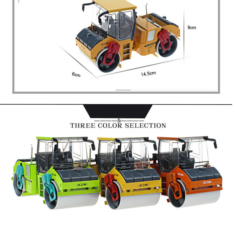 KDW Alloy 1:35 Double Steel Wheel Roller Vibratory Roller Car Children's Toys Adult Ornaments Alloy Diecast Model Toys & Gifts