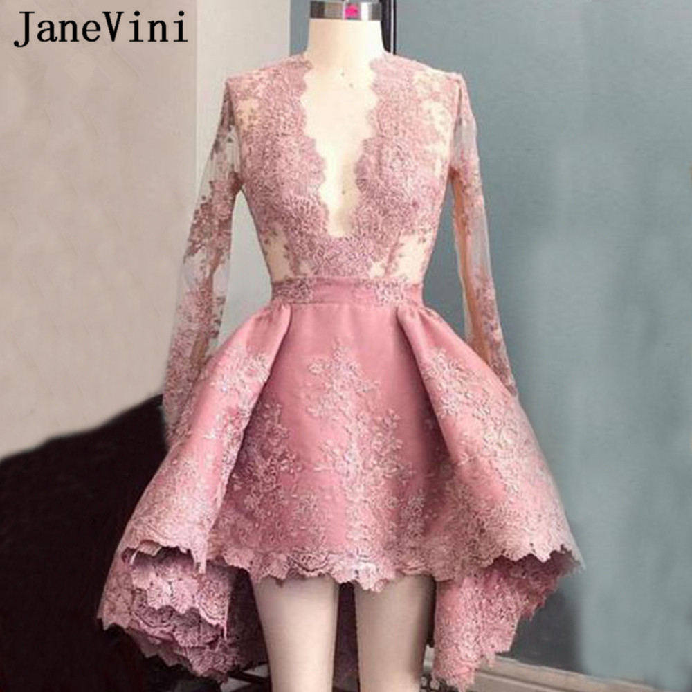 JaneVini Sexy V Neck High Low Short   Cocktail     Dresses   Long Sleeves Lace Appliques Zipper Back Knee-Length Party Gowns Plus Size