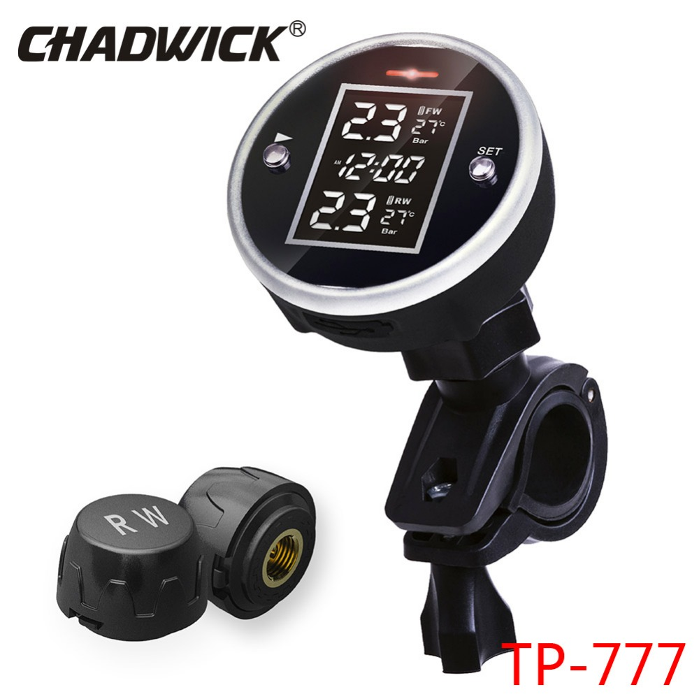 New Motor Universal Wireless Motorcycle TPMS Tire Pressure Monitoring System With Time Display 2 Sensor External CHADWICK TP777