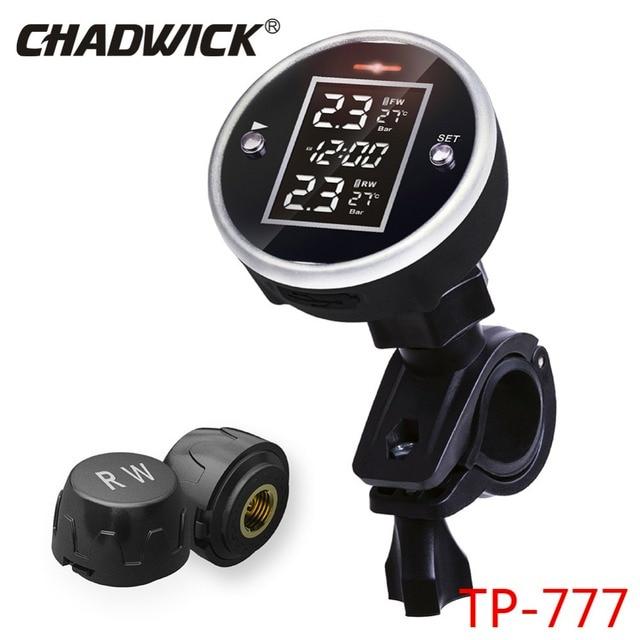Yeni Motor Evrensel Kablosuz Motosiklet TPMS Lastik Basıncı Izleme Sistemi Ile Zaman Ekran 2 Sensörü Harici CHADWICK TP777