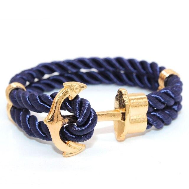2016 Miansai Gold Silver Anchor Bracelet Men Wrap Leather Bracelets Bangles Male bracelet homme pulseras hombre erkek bileklik