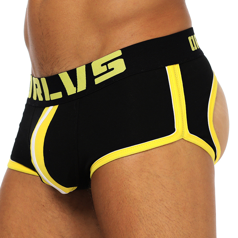 ORLVS Sexy Gay Underwear Men Jockstrap String Homme Thongs Cueca Gay Mens Underwear Open Backless Crotch Cotton OR163