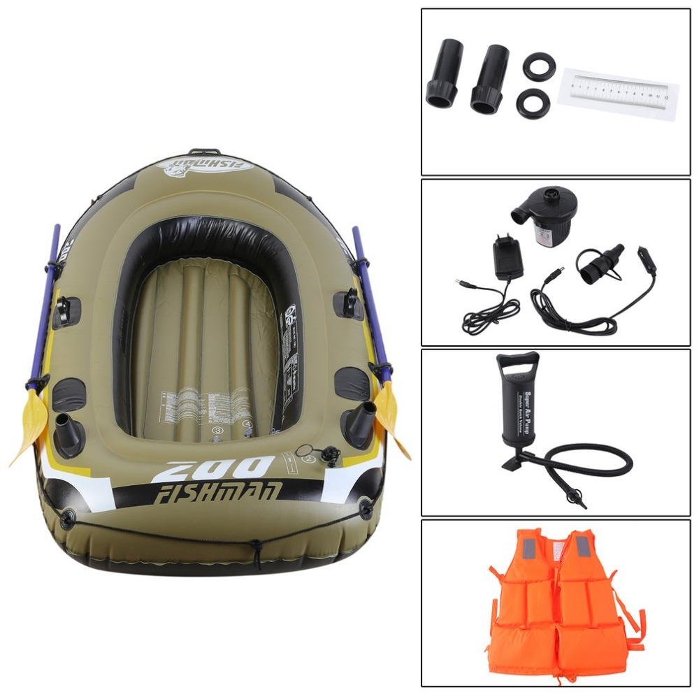 Rubber Boat Kit PVC Inflatable <font><b>Fishing</b></font> Drifting Rescue Raft Boat Life Jacket Two Way Electric Pump Air Pump Paddles Free Ship