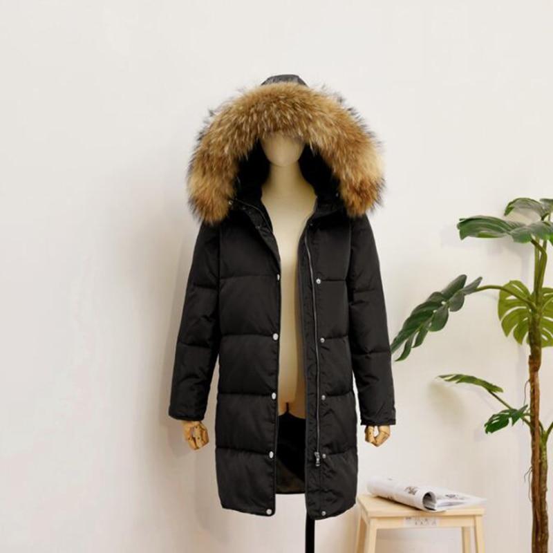 2018 Women Winter Jacket 90% White Duck   Down     Coat   Parka Real Fur Collar Thicken Hooded   Down   Jacket Female Medium Long Overcoat