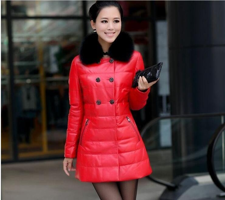 Fashion High Quality Leather Jacket Women Imitation Fox Fur Collar Warm Winter Jacket Female Cotton Long Coats