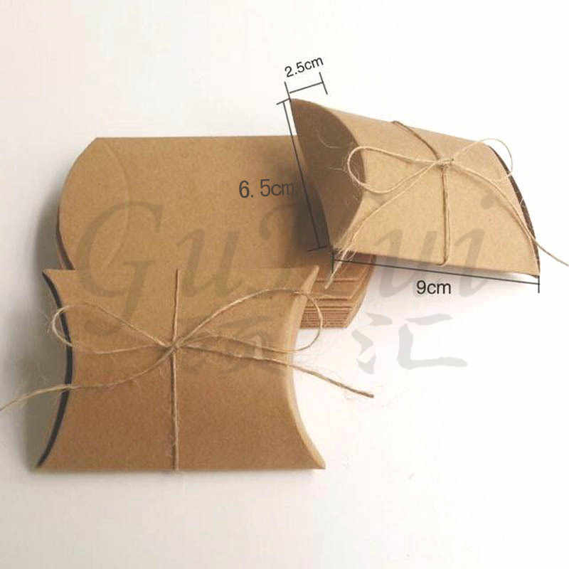 50 pcs Putih coklat lucu kecil bantal bentuk kotak permen antik pedesaan tamu pesta pernikahan favor hadiah tas kertas kraft kemasan