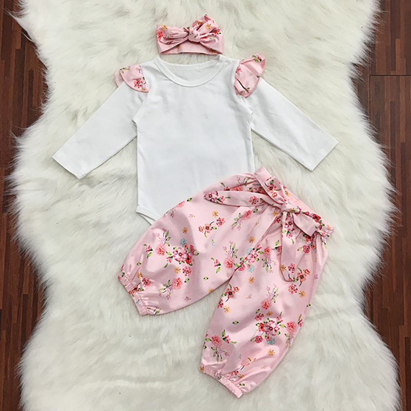 0 2T Baby Set Pink Floral Flower Print Cotton Cute Romper Three piece Suit Floral trousers Headband in Clothing Sets from Mother Kids
