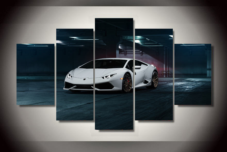 hd printed white car pictures painting on canvas room decoration print poster picture canvas free shippingaa 1409