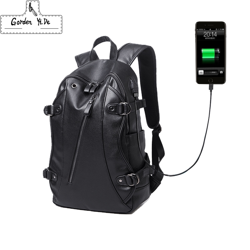 Men PU Leather Backpacks 2018 USB Charging Travel Waterproof 15.6inch Laptop Backpack Teenager Student school Bag Black Mochila 2017 markryden men backpack student school bag large capacity trip backpack usb charging laptop backpack for14inches 15inches