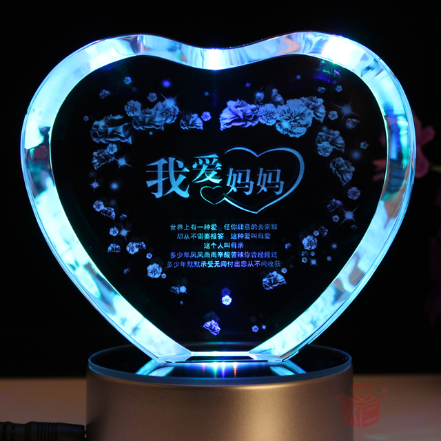 Colorful Heart Crystal Inside Carving Gift Birthday Send Mom
