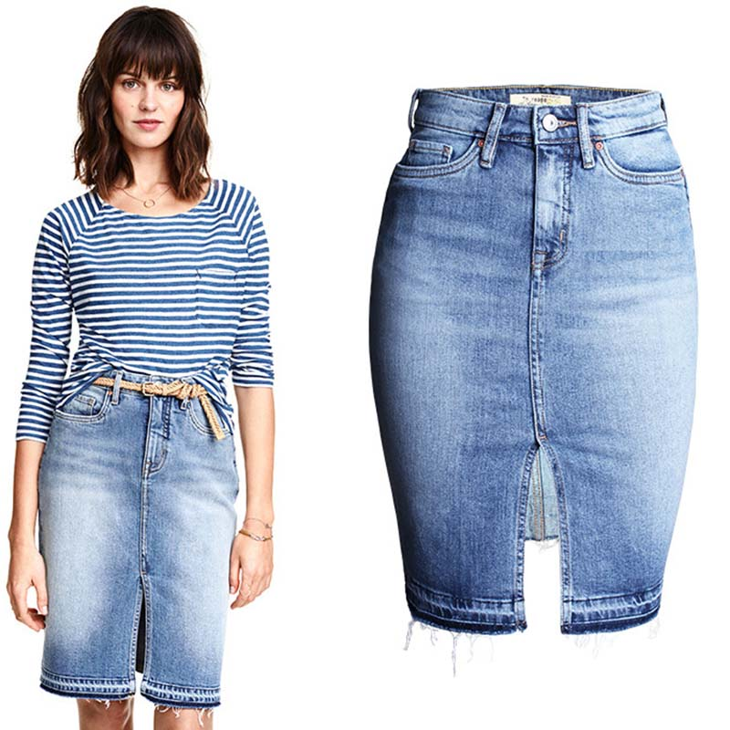 Fashion Denim Skirts Womens 2017 Front Slit Summer Jeans Skirt Midi High Waist Women Skirt