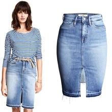 Fashion Denim Skirts Womens 2017 Front Slit Summer Jeans Skirt Midi High Waist Women Skirt