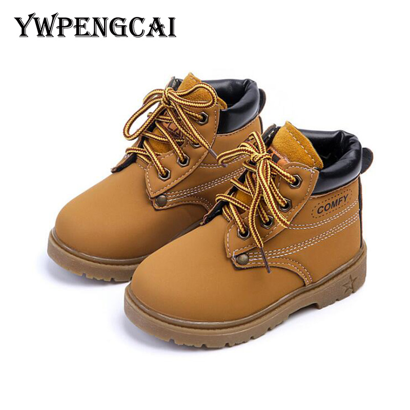 Hot Sale Autumn Winter Kids Warm Thick Thermal Snow Boots Boys Girls PU Leather Martin Boots Vintage Style Rubber Boots 7HV0530