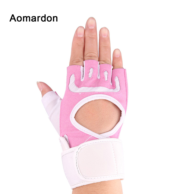 f4c0d06660b31 Aomardon Women Gym Training Gloves Half Finger Breathable Comfortable  Fitness Exercise Bodybuilding Workout Pink Wrist Wrap