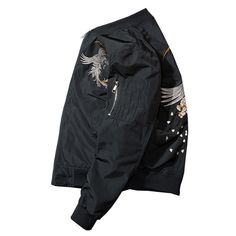Aolamegs Bomber Jacket Phoenix Embroidery Thick Men's Jacket Stand Collar Fashion Outwear Men Coat Bomb Baseball Jackets Winter (6)