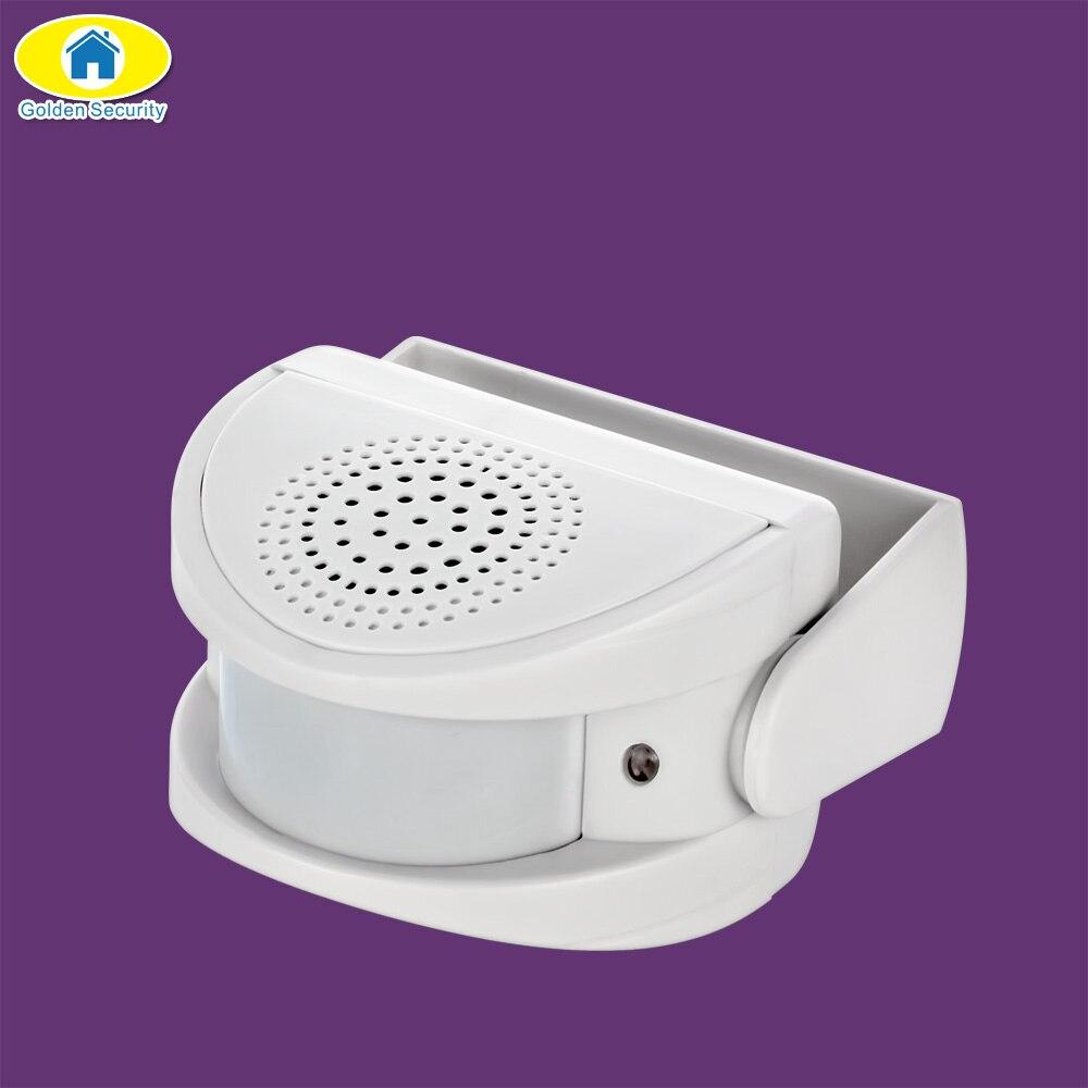 Oro seguridad inalámbrico timbre Bienvenido alarma Chime música interruptor Sensor de movimiento PIR Home Hotel entrada seguridad timbre