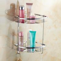 dual tier stainless steel conner bathroom shelf