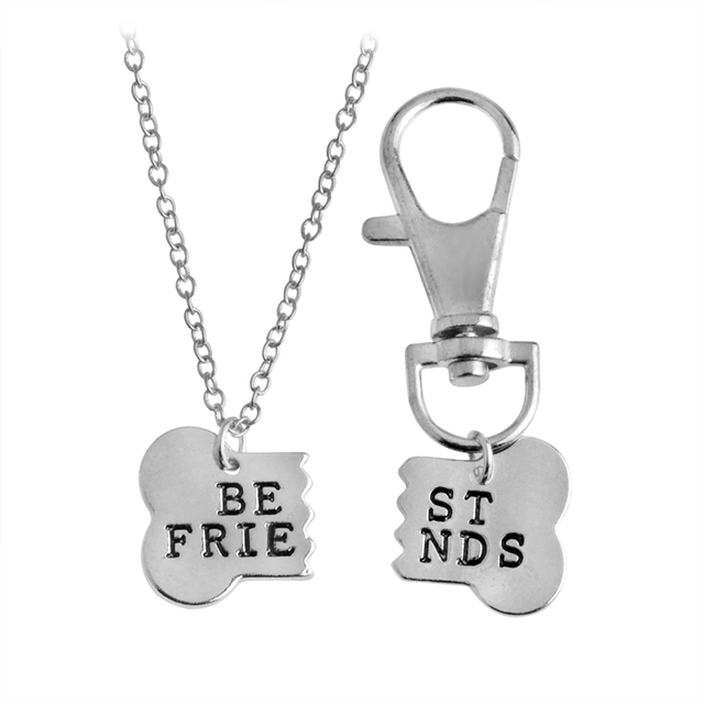 QIHE JEWELRY 2pcs/set Gold Silver Color Dog Bone Best Friends Charm Necklace & Keychain Handstamped BFF Bones Friendship Jewelry 1