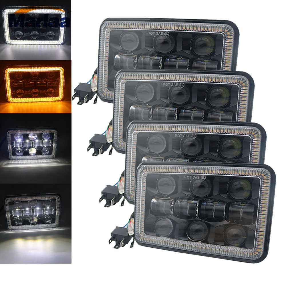 Marlaa 4X6 inch Led Headlight Square Light White Halo DRL Amber Turn Signal Sealed high low