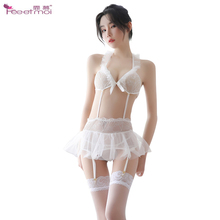 Sex Erotic Lingerie Women Porno Costumes Sexy Femme Set Transparent With Stockings Lace White Underwear Womens Lingerie