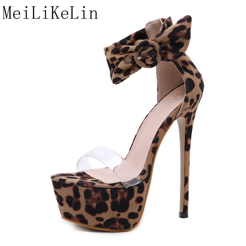 New <font><b>17</b></font> <font><b>cm</b></font> Thin <font><b>Heel</b></font> Leopard Sandals Women Super <font><b>High</b></font> <font><b>Heel</b></font> Sexy Narrow Clear Band Stage Shoes Sandals Fetish Pumps Big Zip Shoes image