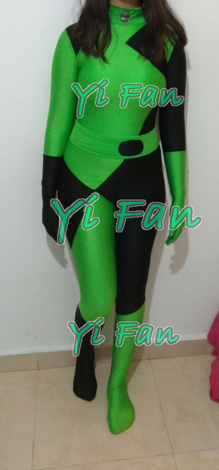 Hot Sale Shego Of Kim Possible Super Villain Cosplay Costume Lycra Spandex Halloween Costumes for Woman Zentai Catsuit
