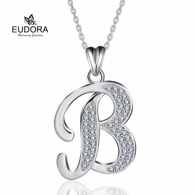 42fe8dfc1da25 US $16.11 |Aliexpress.com : Buy Eudora 925 Sterling Silver Letter B  Alphabet Pendant Valentine Necklace Fashion Crystal Jewelry For Daughter  and ...