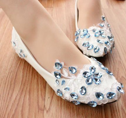 Flat Blue Wedding Shoes With Crystals Ipunya